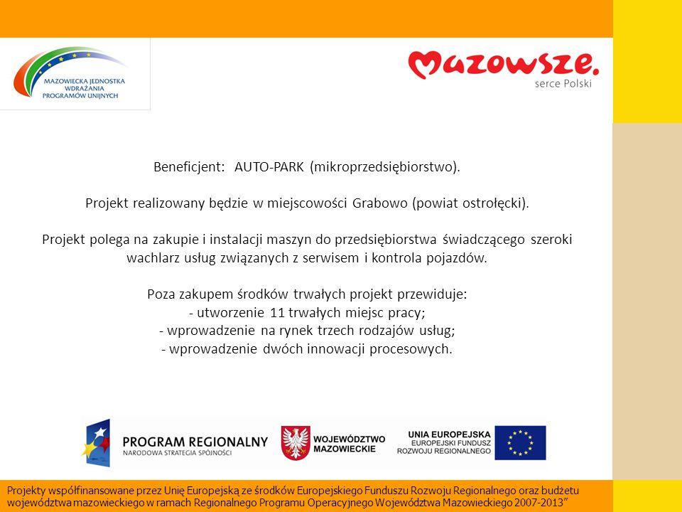 Beneficjent: AUTO-PARK (mikroprzedsiębiorstwo). Projekt realizowany będzie w miejscowości Grabowo (powiat ostrołęcki). Projekt polega na zakupie i ins