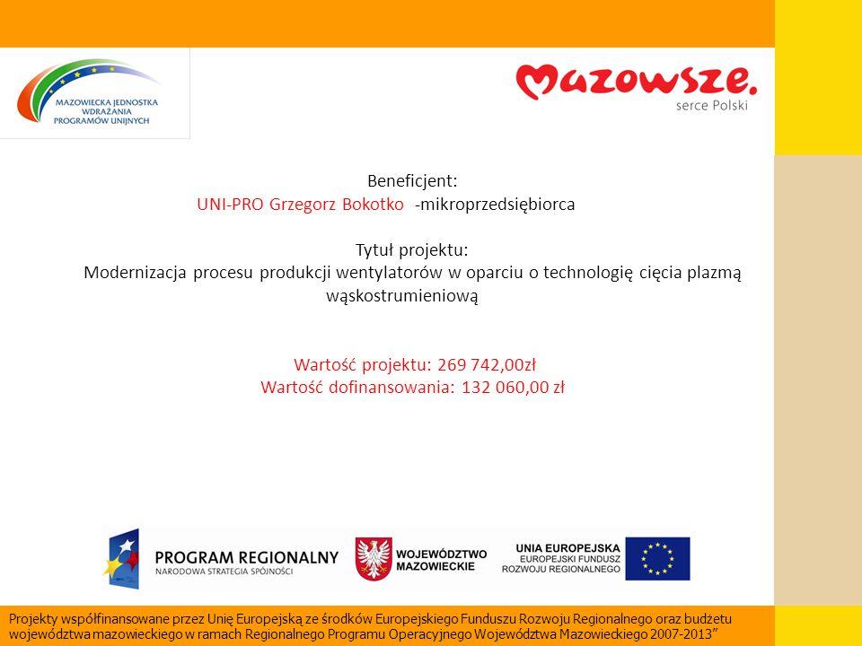 Beneficjent: UNI-PRO Grzegorz Bokotko -mikroprzedsiębiorca Tytuł projektu: Modernizacja procesu produkcji wentylatorów w oparciu o technologię cięcia