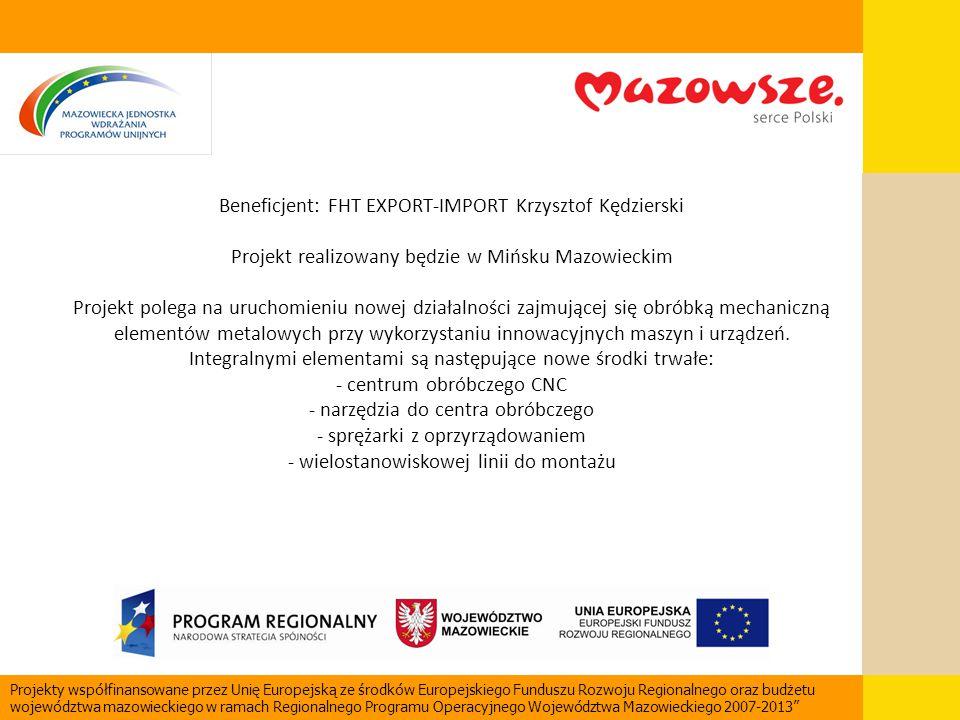 Beneficjent: FHT EXPORT-IMPORT Krzysztof Kędzierski Projekt realizowany będzie w Mińsku Mazowieckim Projekt polega na uruchomieniu nowej działalności