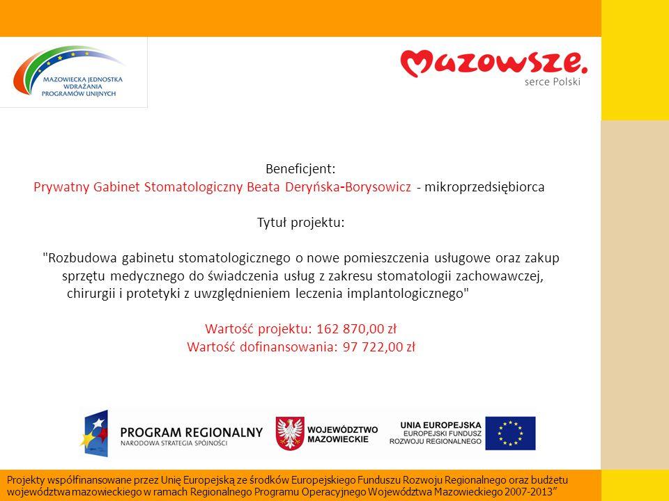 Beneficjent: Prywatny Gabinet Stomatologiczny Beata Deryńska - Borysowicz - mikroprzedsiębiorca Tytuł projektu: