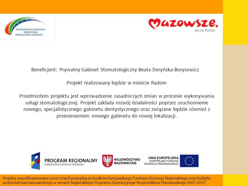 Beneficjent: Prywatny Gabinet Stomatologiczny Beata Deryńska-Borysowicz Projekt realizowany będzie w mieście Radom Przedmiotem projektu jest wprowadze