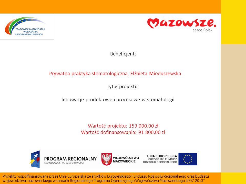 Beneficjent: Prywatna praktyka stomatologiczna, Elżbieta Mioduszewska Tytuł projektu: Innowacje produktowe i procesowe w stomatologii Wartość projektu