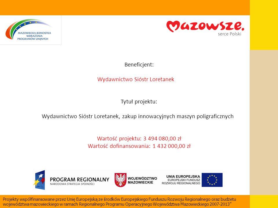 Beneficjent: Wydawnictwo Sióstr Loretanek Tytuł projektu: Wydawnictwo Sióstr Loretanek, zakup innowacyjnych maszyn poligraficznych Wartość projektu: 3