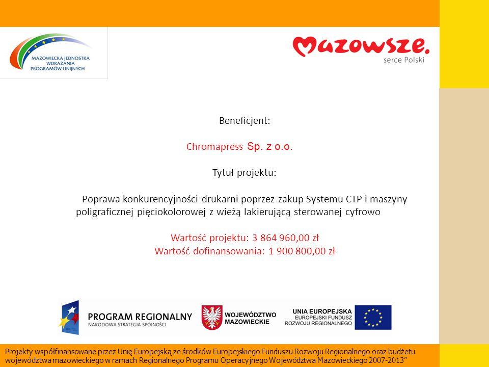 Beneficjent: Chromapress Sp. z o.o. Tytuł projektu: Poprawa konkurencyjności drukarni poprzez zakup Systemu CTP i maszyny poligraficznej pięciokolorow