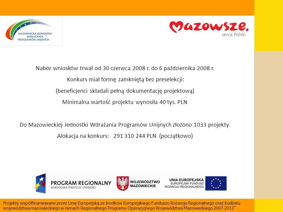 Nabór wniosków trwał od 30 czerwca 2008 r. do 6 października 2008 r. Konkurs miał formę zamkniętą bez preselekcji: (beneficjenci składali pełną dokume
