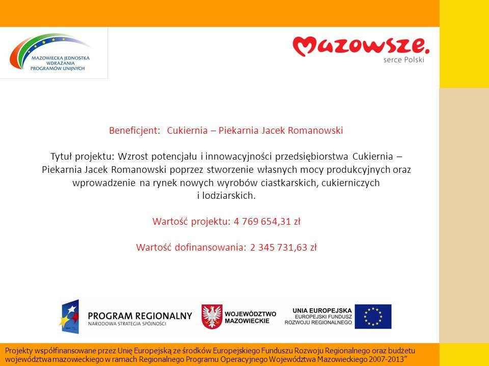 Beneficjent: Cukiernia – Piekarnia Jacek Romanowski Tytuł projektu: Wzrost potencjału i innowacyjności przedsiębiorstwa Cukiernia – Piekarnia Jacek Ro