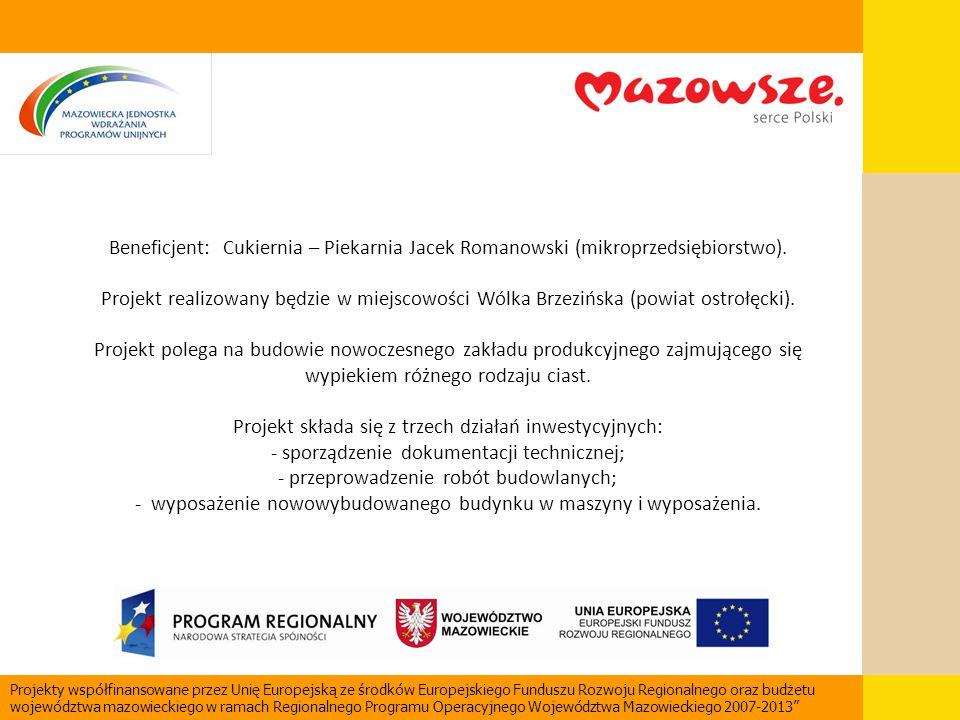 Beneficjent: Cukiernia – Piekarnia Jacek Romanowski (mikroprzedsiębiorstwo). Projekt realizowany będzie w miejscowości Wólka Brzezińska (powiat ostroł