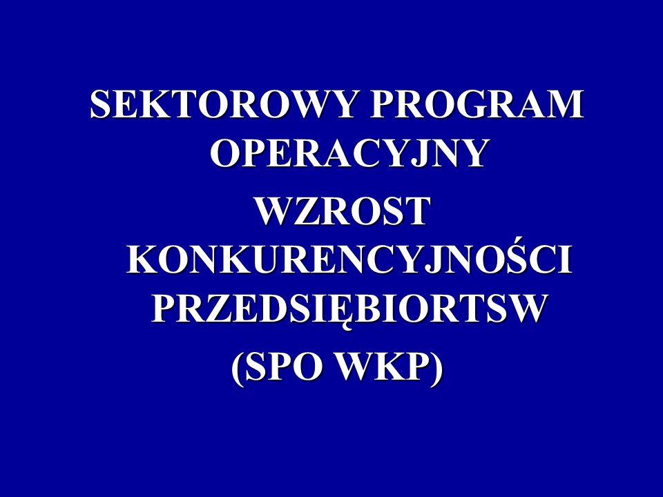 Cel Programu poprawa pozycji konkurencyjnej przedsiębiorstw, działających na terenie Polski w warunkach Jednolitego Rynku Europejskiego Priorytety Programu rozwój przedsiębiorczości i wzrost innowacyjności poprzez wzmocnienie instytucji otoczenia biznesu bezpośrednie wsparcie przedsiębiorstw