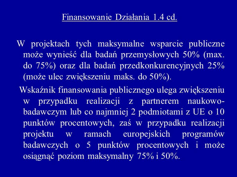 Finansowanie Działania 1.4 cd. W projektach tych maksymalne wsparcie publiczne może wynieść dla badań przemysłowych 50% (max. do 75%) oraz dla badań p