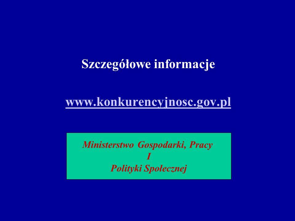 Szczegółowe informacje www.konkurencyjnosc.gov.pl Ministerstwo Gospodarki, Pracy I Polityki Społecznej