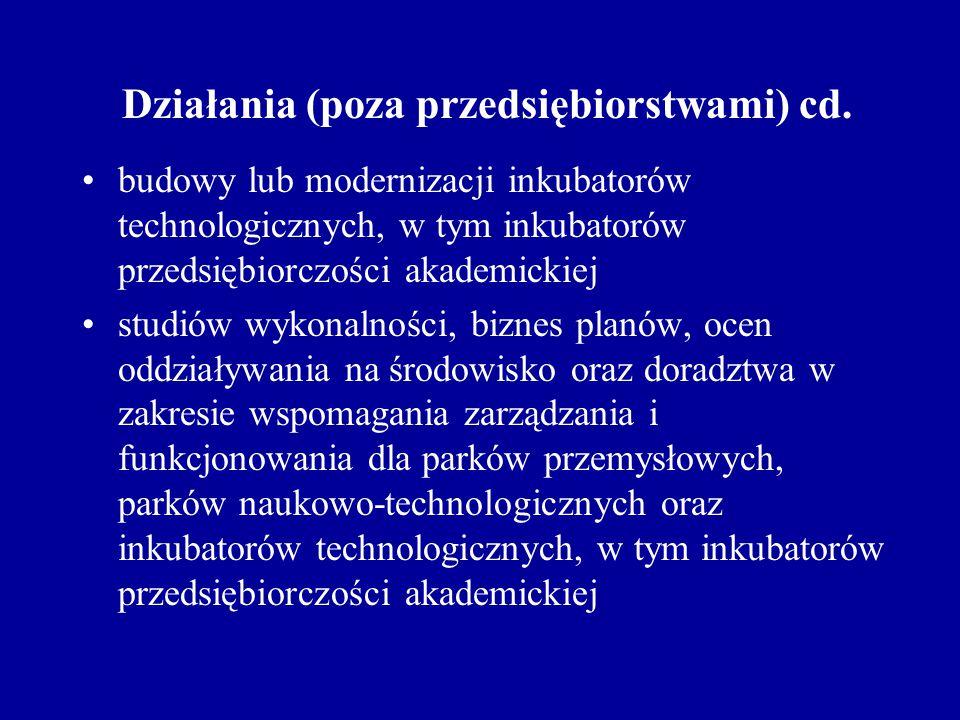 Działania (poza przedsiębiorstwami) cd. budowy lub modernizacji inkubatorów technologicznych, w tym inkubatorów przedsiębiorczości akademickiej studió