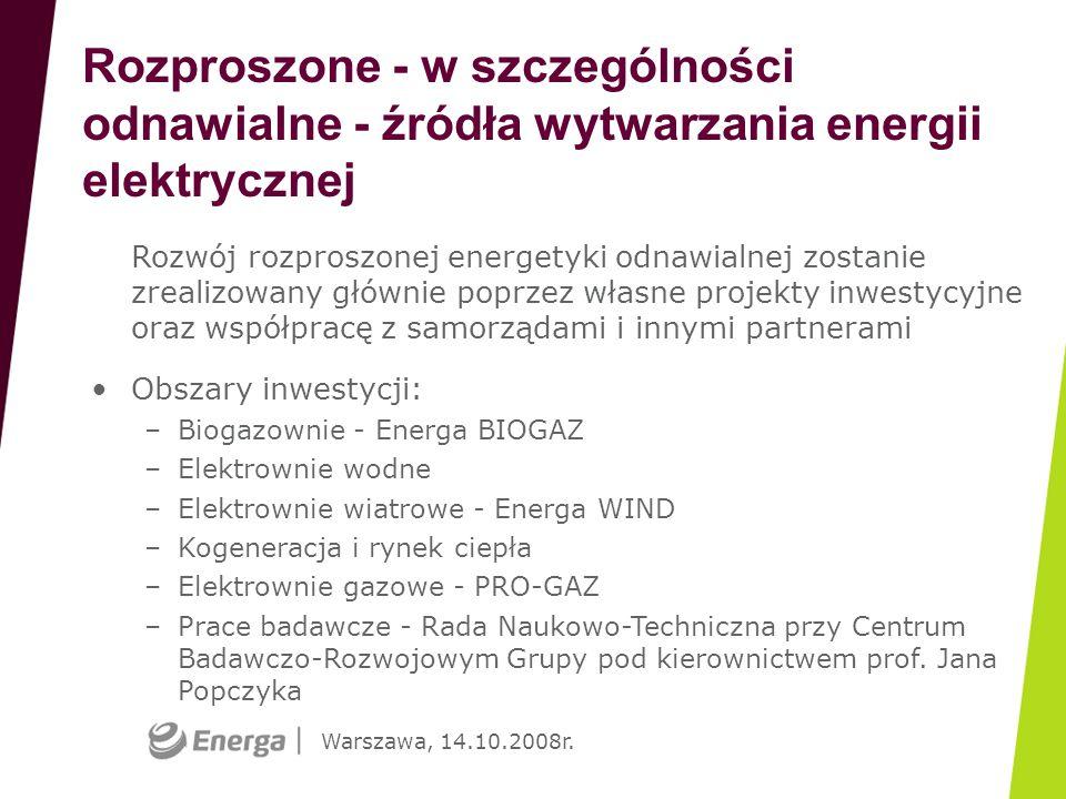 Warszawa, 14.10.2008r. Rozproszone - w szczególności odnawialne - źródła wytwarzania energii elektrycznej Rozwój rozproszonej energetyki odnawialnej z