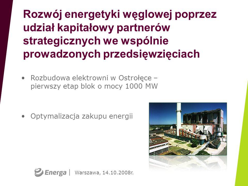 Warszawa, 14.10.2008r. Rozwój energetyki węglowej poprzez udział kapitałowy partnerów strategicznych we wspólnie prowadzonych przedsięwzięciach Rozbud