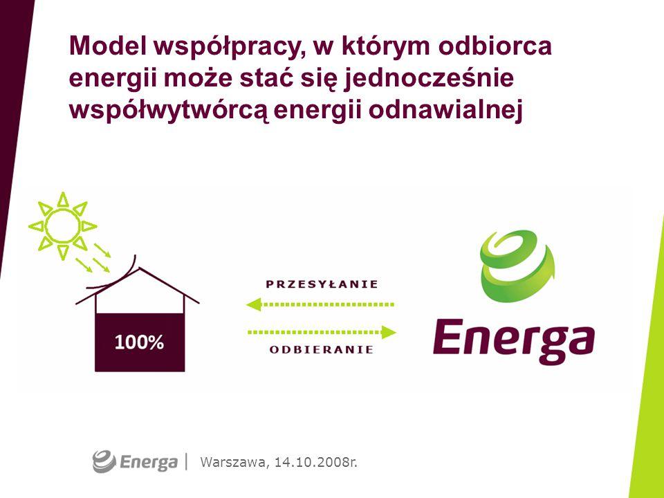 Warszawa, 14.10.2008r. Model współpracy, w którym odbiorca energii może stać się jednocześnie współwytwórcą energii odnawialnej (prezentacja graficzna