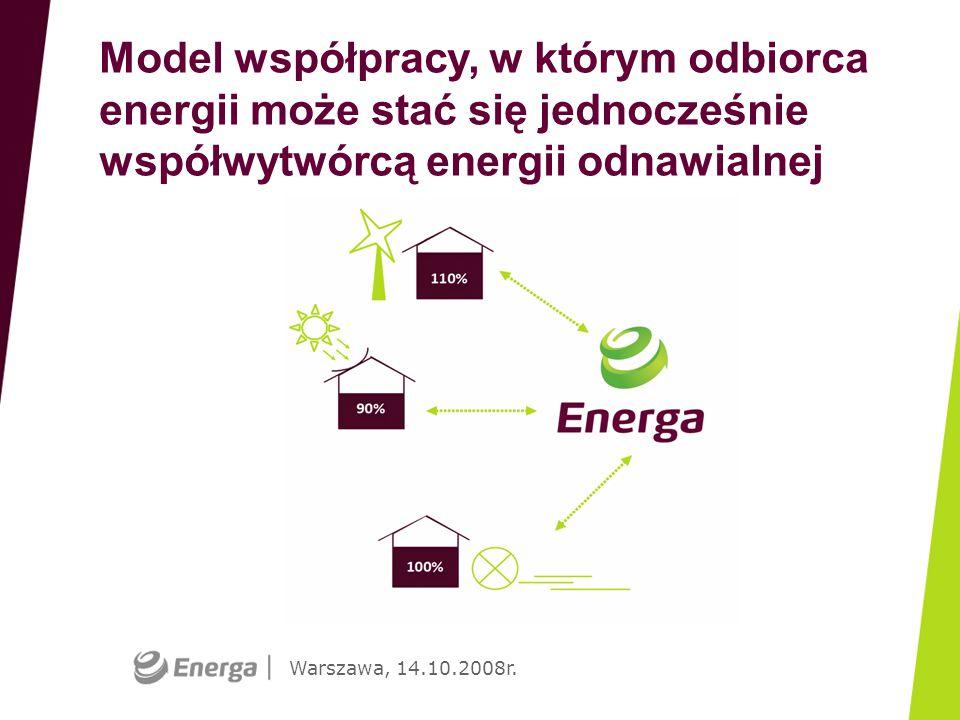 Warszawa, 14.10.2008r. Model współpracy, w którym odbiorca energii może stać się jednocześnie współwytwórcą energii odnawialnej