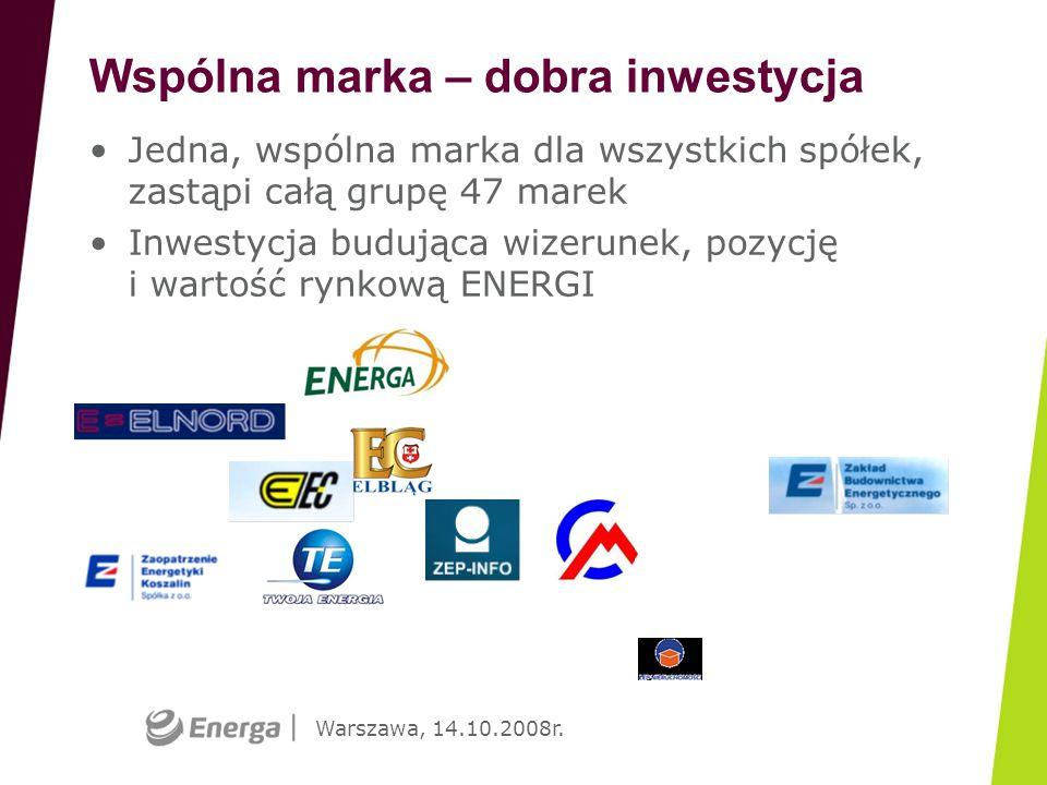 Warszawa, 14.10.2008r. Jedna, wspólna marka dla wszystkich spółek, zastąpi całą grupę 47 marek Inwestycja budująca wizerunek, pozycję i wartość rynkow