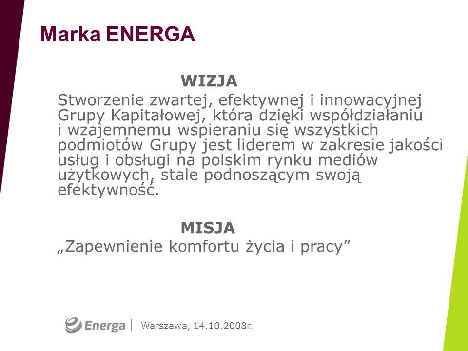 Warszawa, 14.10.2008r. WIZJA Stworzenie zwartej, efektywnej i innowacyjnej Grupy Kapitałowej, która dzięki współdziałaniu i wzajemnemu wspieraniu się