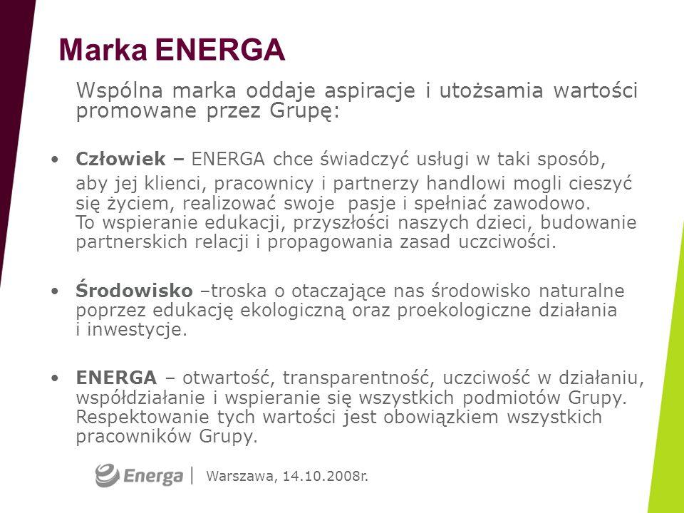 Warszawa, 14.10.2008r. Marka ENERGA Wspólna marka oddaje aspiracje i utożsamia wartości promowane przez Grupę: Człowiek – ENERGA chce świadczyć usługi