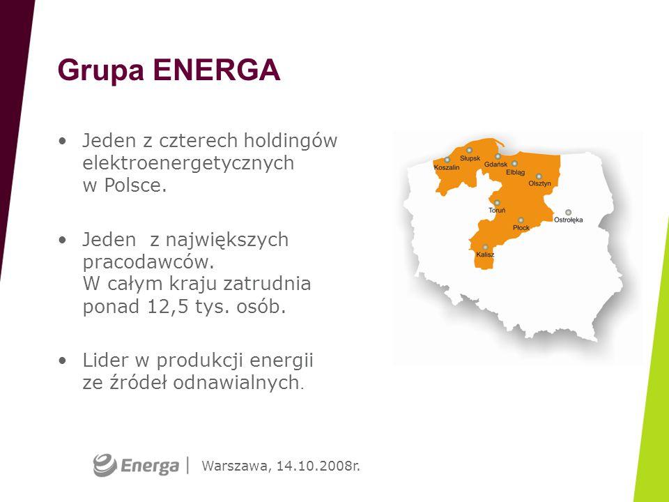 Warszawa, 14.10.2008r. Grupa ENERGA Jeden z czterech holdingów elektroenergetycznych w Polsce. Jeden z największych pracodawców. W całym kraju zatrudn