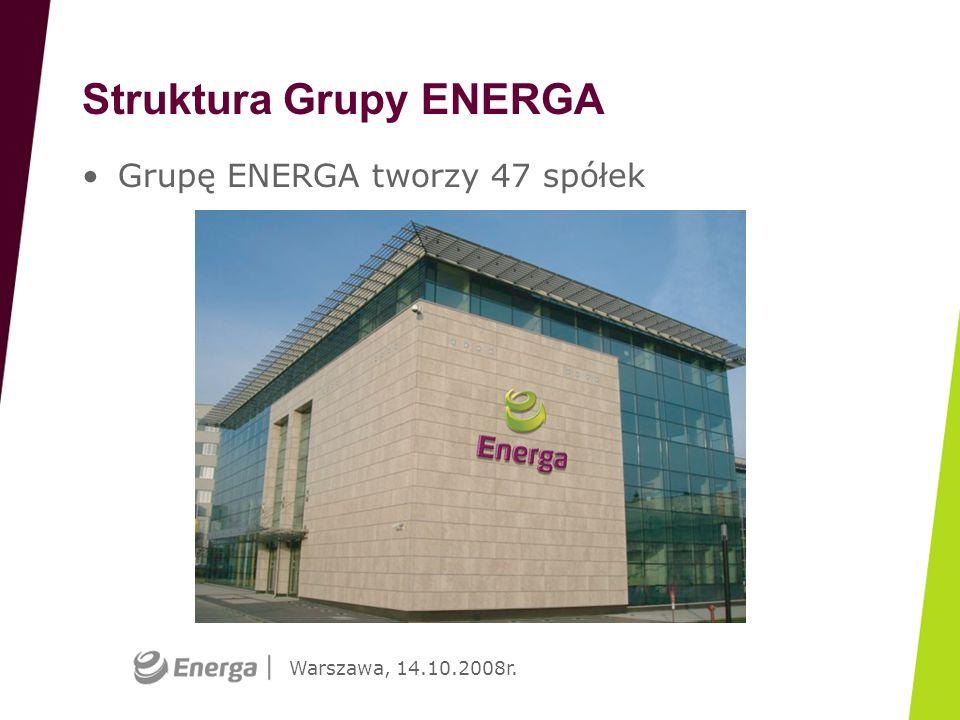 Warszawa, 14.10.2008r. Struktura Grupy ENERGA Grupę ENERGA tworzy 47 spółek