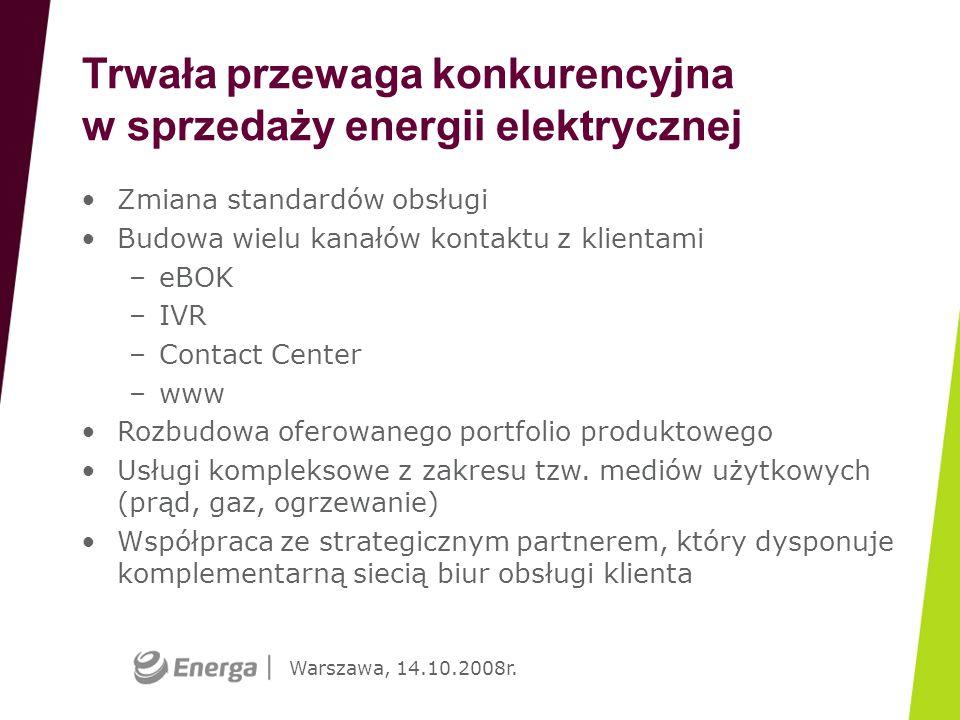 Warszawa, 14.10.2008r. Trwała przewaga konkurencyjna w sprzedaży energii elektrycznej Zmiana standardów obsługi Budowa wielu kanałów kontaktu z klient