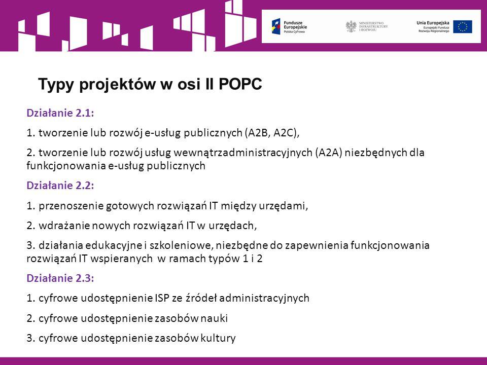 Typy projektów w osi II POPC Działanie 2.1: 1. tworzenie lub rozwój e-usług publicznych (A2B, A2C), 2. tworzenie lub rozwój usług wewnątrzadministracy