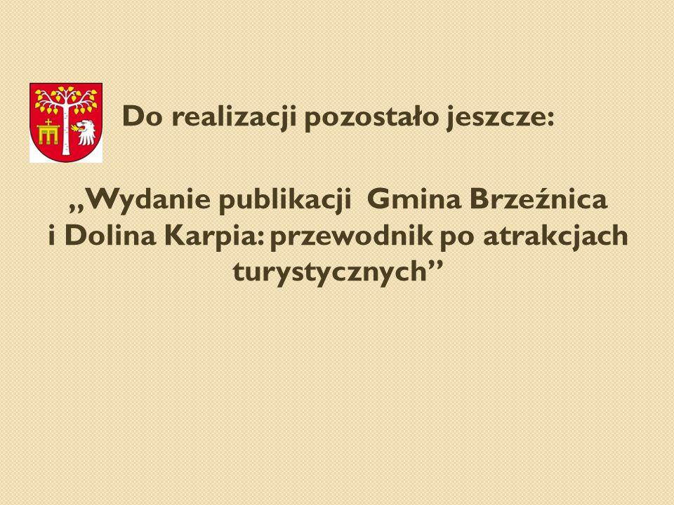"""Do realizacji pozostało jeszcze: """"Wydanie publikacji Gmina Brzeźnica i Dolina Karpia: przewodnik po atrakcjach turystycznych"""