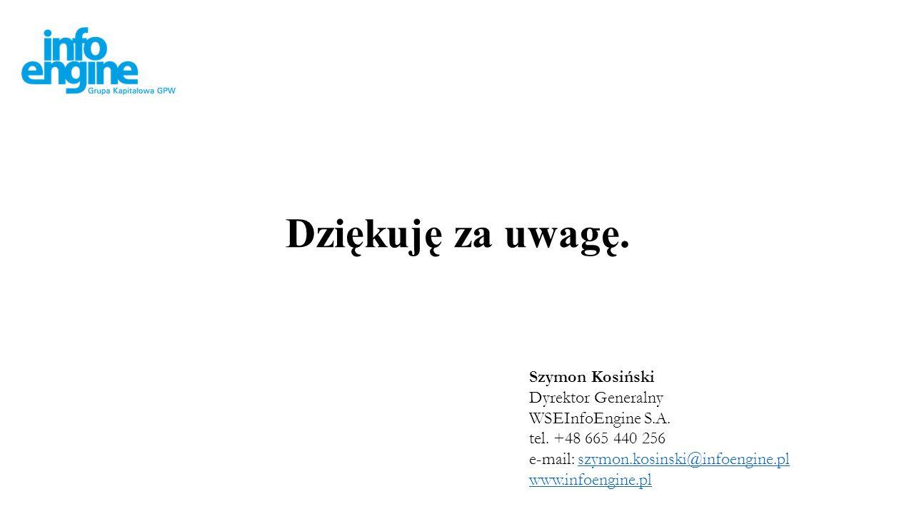 Dziękuję za uwagę. Szymon Kosiński Dyrektor Generalny WSEInfoEngine S.A.