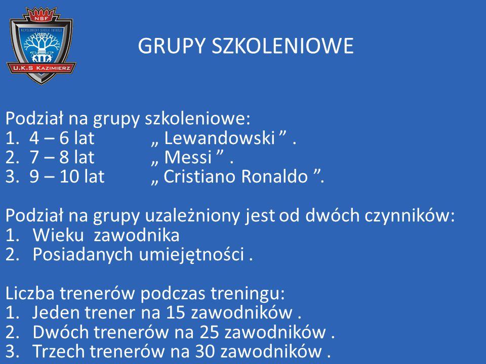 """GRUPY SZKOLENIOWE Podział na grupy szkoleniowe: 1. 4 – 6 lat """" Lewandowski """". 2. 7 – 8 lat """" Messi """". 3. 9 – 10 lat """" Cristiano Ronaldo """". Podział na"""