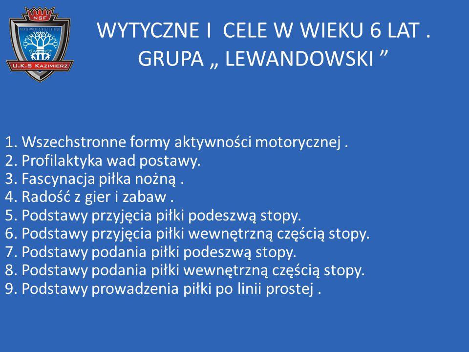 """WYTYCZNE I CELE W WIEKU 6 LAT. GRUPA """" LEWANDOWSKI """" 1. Wszechstronne formy aktywności motorycznej. 2. Profilaktyka wad postawy. 3. Fascynacja piłka n"""