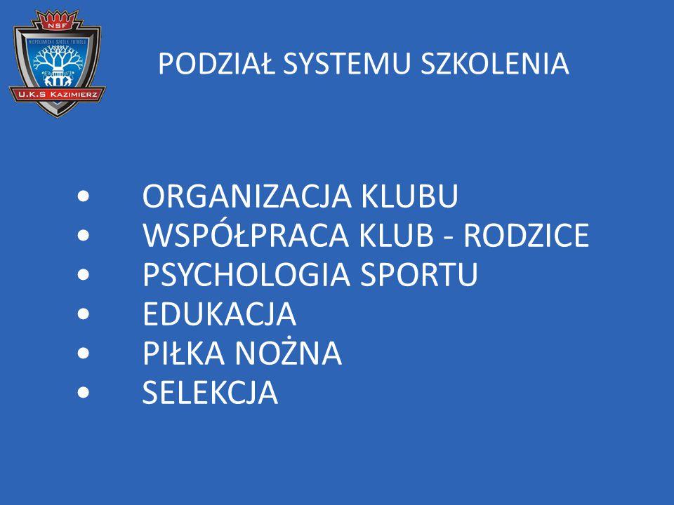 ORGANIZACJA KLUBU 1.Jeden program szkolenia dla wszystkich trenerów.