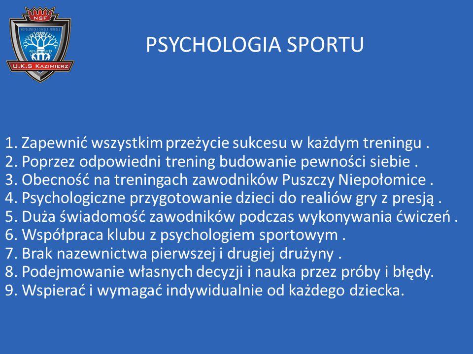 PSYCHOLOGIA SPORTU 1. Zapewnić wszystkim przeżycie sukcesu w każdym treningu. 2. Poprzez odpowiedni trening budowanie pewności siebie. 3. Obecność na