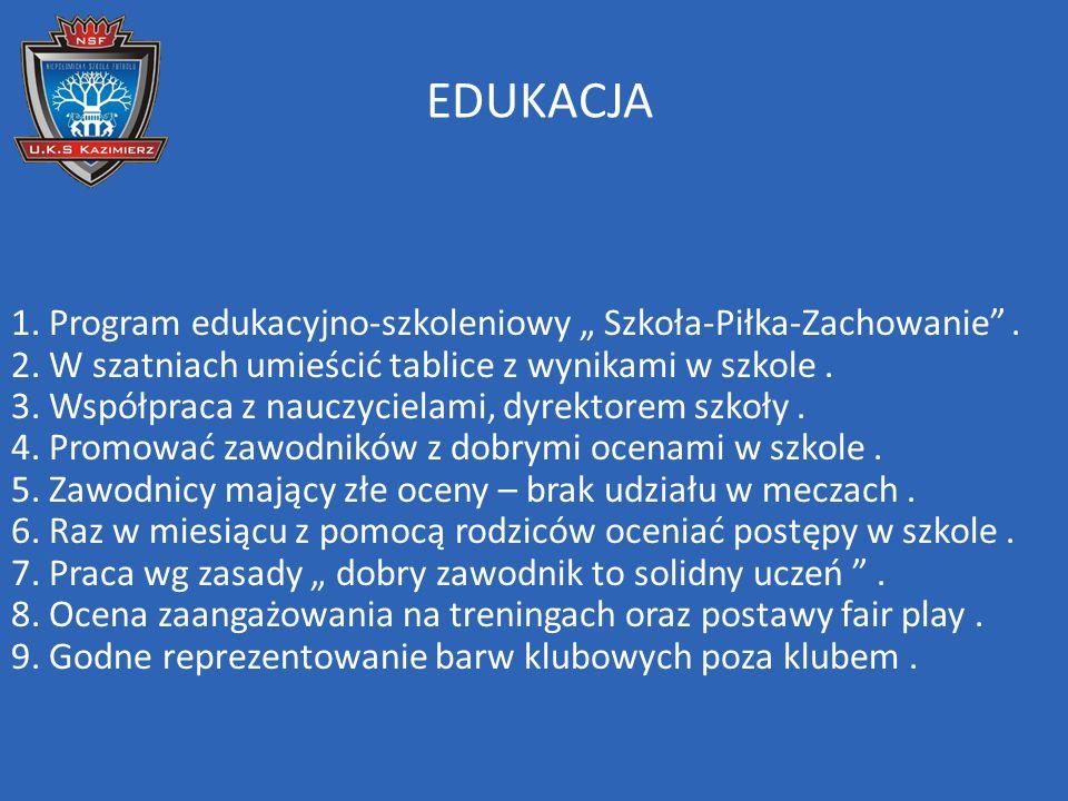 """EDUKACJA 1. Program edukacyjno-szkoleniowy """" Szkoła-Piłka-Zachowanie"""". 2. W szatniach umieścić tablice z wynikami w szkole. 3. Współpraca z nauczyciel"""