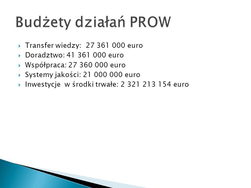  Transfer wiedzy: 27 361 000 euro  Doradztwo: 41 361 000 euro  Współpraca: 27 360 000 euro  Systemy jakości: 21 000 000 euro  Inwestycje w środki