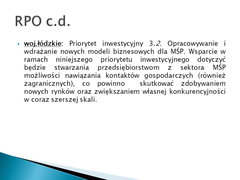  woj.łódzkie: Priorytet inwestycyjny 3.2. Opracowywanie i wdrażanie nowych modeli biznesowych dla MŚP. Wsparcie w ramach niniejszego priorytetu inwes