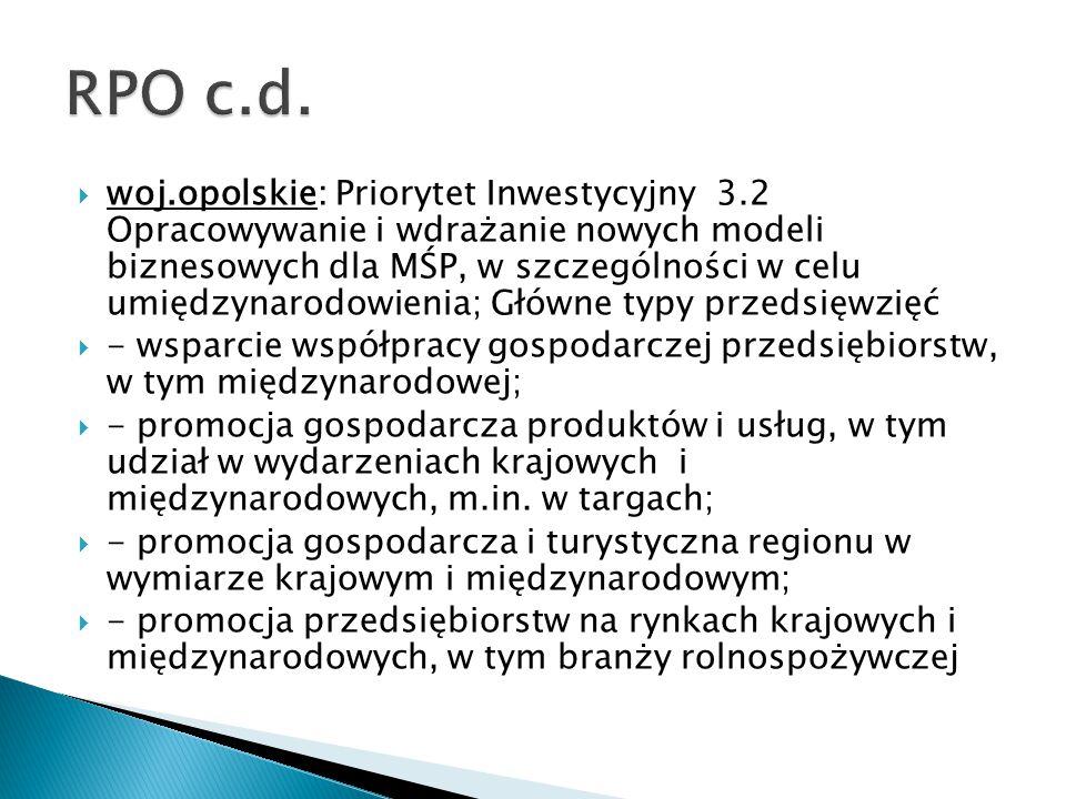  woj.opolskie: Priorytet Inwestycyjny 3.2 Opracowywanie i wdrażanie nowych modeli biznesowych dla MŚP, w szczególności w celu umiędzynarodowienia; Gł