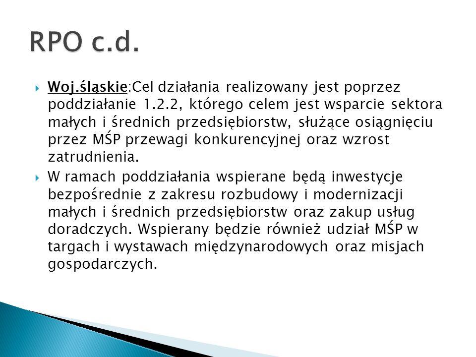  Woj.śląskie:Cel działania realizowany jest poprzez poddziałanie 1.2.2, którego celem jest wsparcie sektora małych i średnich przedsiębiorstw, służąc