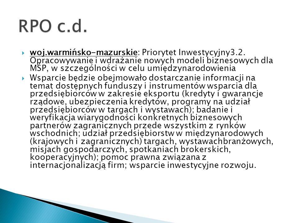  woj.warmińsko-mazurskie: Priorytet Inwestycyjny3.2. Opracowywanie i wdrażanie nowych modeli biznesowych dla MŚP, w szczególności w celu umiędzynarod