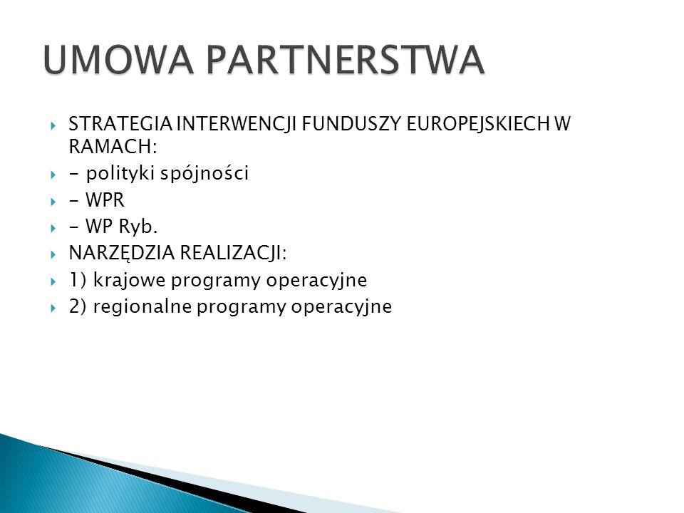  STRATEGIA INTERWENCJI FUNDUSZY EUROPEJSKIECH W RAMACH:  - polityki spójności  - WPR  - WP Ryb.  NARZĘDZIA REALIZACJI:  1) krajowe programy oper