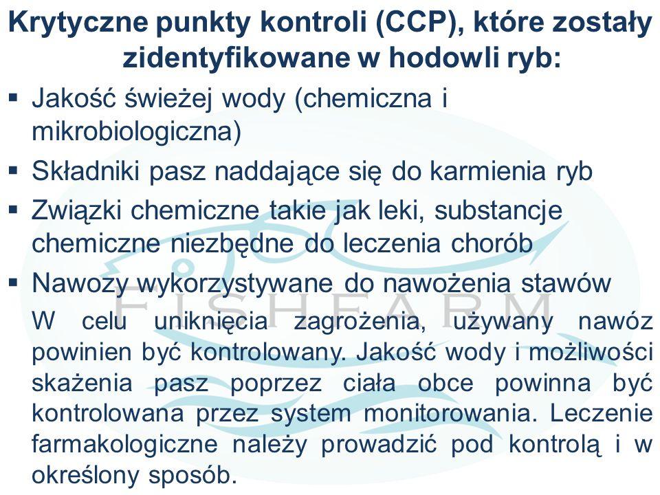 Krytyczne punkty kontroli (CCP), które zostały zidentyfikowane w hodowli ryb:  Jakość świeżej wody (chemiczna i mikrobiologiczna)  Składniki pasz na