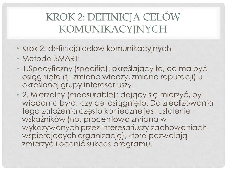 KROK 2: DEFINICJA CELÓW KOMUNIKACYJNYCH Krok 2: definicja celów komunikacyjnych Metoda SMART: 1.Specyficzny (specific): określający to, co ma być osią