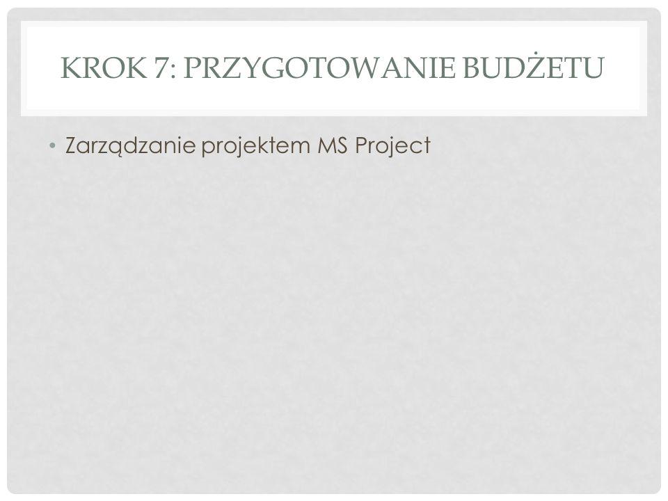 KROK 7: PRZYGOTOWANIE BUDŻETU Zarządzanie projektem MS Project