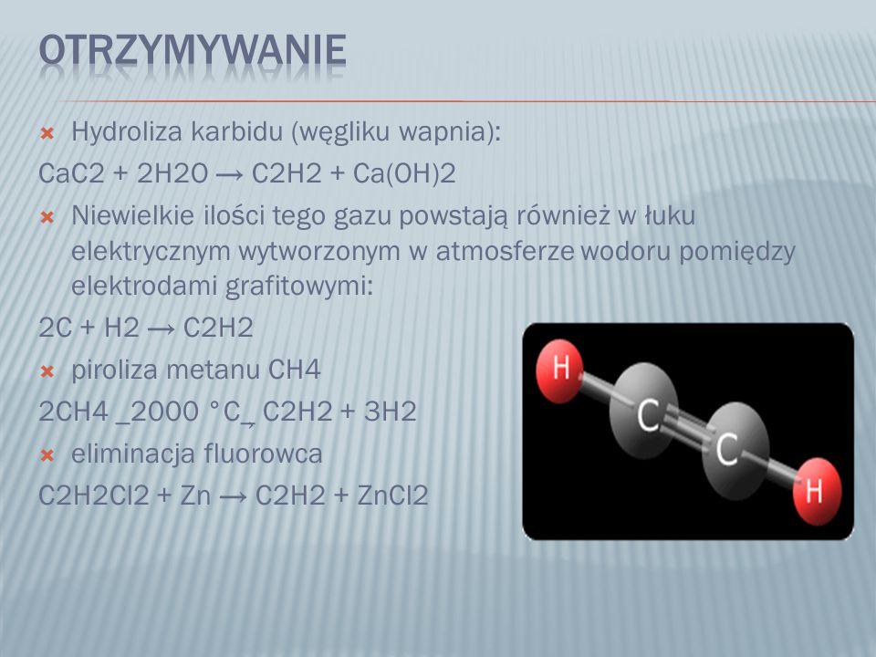  w palnikach acetylenowo-tlenowych do spawania i cięcia metali (acetylen w dużej ilości tlenu spala się w temperaturze 3100 °C)  w lampie acetylenowej do oświetlenia  w przemyśle chemicznym (m.in.