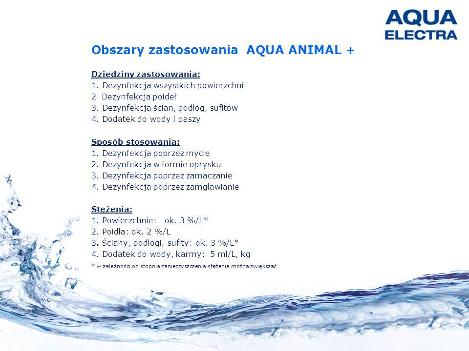 Obszary zastosowania AQUA ANIMAL + Dziedziny zastosowania: 1. Dezynfekcja wszystkich powierzchni 2 Dezynfekcja poideł 3. Dezynfekcja ścian, podłóg, su