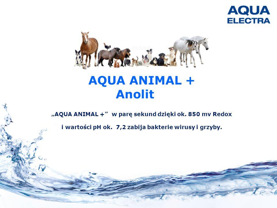 """""""AQUA ANIMAL +"""" w parę sekund dzięki ok. 850 mv Redox i wartości pH ok. 7,2 zabija bakterie wirusy i grzyby. AQUA ANIMAL + Anolit"""