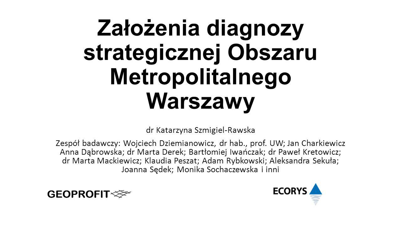 Założenia diagnozy strategicznej Obszaru Metropolitalnego Warszawy dr Katarzyna Szmigiel-Rawska Zespół badawczy: Wojciech Dziemianowicz, dr hab., prof