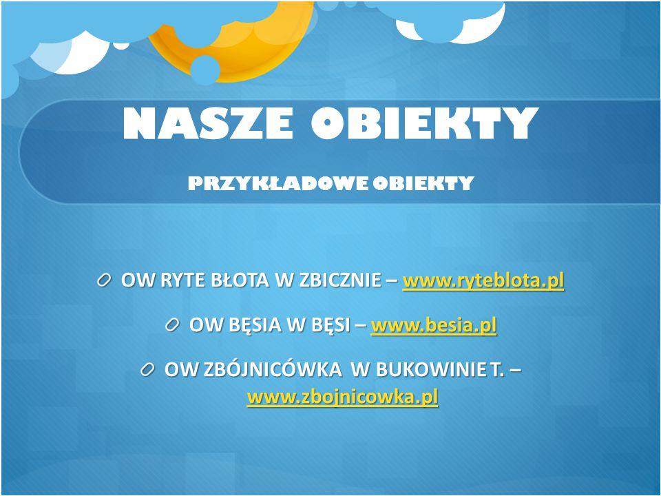 NASZE OBIEKTY PRZYKŁADOWE OBIEKTY OW RYTE BŁOTA W ZBICZNIE – www.ryteblota.pl www.ryteblota.pl OW BĘSIA W BĘSI – www.besia.pl www.besia.pl OW ZBÓJNICÓ