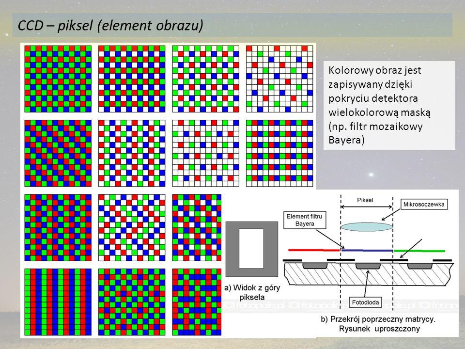 Kolorowy obraz jest zapisywany dzięki pokryciu detektora wielokolorową maską (np. filtr mozaikowy Bayera) CCD – piksel (element obrazu)
