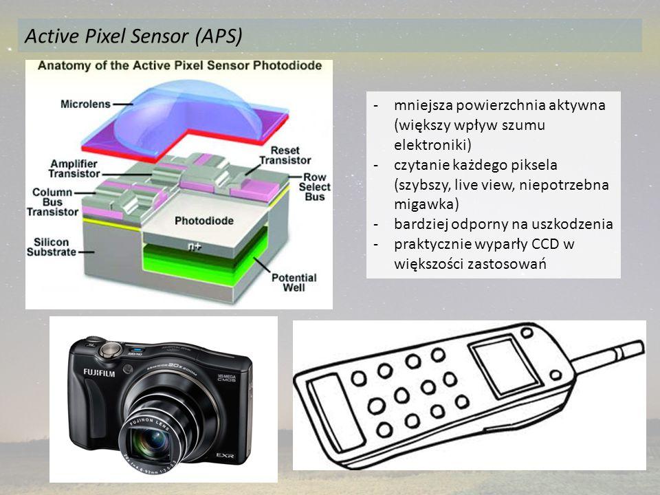 -mniejsza powierzchnia aktywna (większy wpływ szumu elektroniki) -czytanie każdego piksela (szybszy, live view, niepotrzebna migawka) -bardziej odporny na uszkodzenia -praktycznie wyparły CCD w większości zastosowań Active Pixel Sensor (APS)