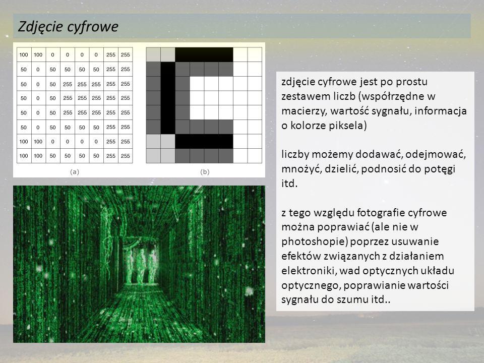 zdjęcie cyfrowe jest po prostu zestawem liczb (współrzędne w macierzy, wartość sygnału, informacja o kolorze piksela) liczby możemy dodawać, odejmować, mnożyć, dzielić, podnosić do potęgi itd.